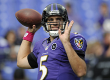 Baltimore Ravens quarterback Joe Flacco warms up before an NFL football game against the Dallas Cowboys in Baltimore, Sunday, Oct. 14, 2012. (AP Photo/Nick Wass)