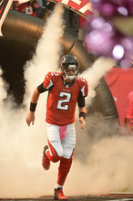 Atlanta Falcons quarterback Matt Ryan (2)runs onto the field before the first half of an NFL football game against the Oakland Raiders, Sunday, Oct. 14, 2012, in Atlanta. (AP Photo/Rich Addicks)