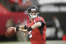 Atlanta Falcons quarterback Matt Ryan (2) works before before the first half of an NFL football game against the Oakland Raiders, Sunday, Oct. 14, 2012, in Atlanta. (AP Photo/John Bazemore)