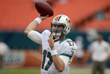 Miami Dolphins quarterback Ryan Tannehill (17), prepares to pass during warmups before the start of an NFL football game against the St. Louis Rams, Sunday, Oct. 14, 2012 in Miami. (AP Photo/Rhona Wise)
