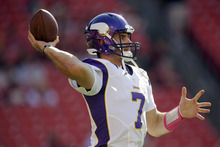 Minnesota Vikings quarterback Christian Ponder throws during warm ups before an NFL football game against the Washington Redskins Sunday, Oct. 14, 2012, in Landover, Md. (AP Photo/Pablo Martinez Monsivais)