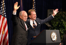 FILE - In a June 16, 2003 file photo, Vice President Dick Cheney, left, appears with U.S. Sen. Arlen Specter at a fundraiser at the Crown Plaza Hotel in Harrisburg, Pa.  Former U.S. Sen. Arlen Specter, longtime Senate moderate and architect of one-bullet theory in JFK death, died Sunday, Oct. 14, 2012.  He was 82.  (AP Photo/Carolyn Kaster, File)