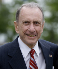 FILE - In this May 17, 2010 file photo Sen. Arlen Specter, D-Pa., arrives at Citizens Bank Park, in Philadelphia, as he campaigns across Pennsylvania for the Democratic nomination to run for re-election.   Former U.S. Sen. Arlen Specter, longtime Senate moderate and architect of one-bullet theory in JFK death, died Sunday, Oct. 14, 2012. He was 82. (AP Photo/Carolyn Kaster, File)