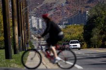 Kim Raff  |  The Salt Lake Tribune A bike rider travels across Sunnyside Avenue in Salt Lake City on Sunday,  October 14, 2012. In January, Mayor Ralph Becker, as part of his