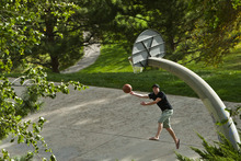 Chris Detrick  |  The Salt Lake Tribune Rich Karpowitz plays basketball at 11th Ave Park Tuesday October 16, 2012.