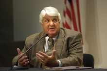 Paul Fraughton | Salt Lake Tribune Rob Bishop, who is being  challenged in the 1st Congressional District by Donna McAleer, speaks  at  their debate at the Pleasant Valley Library  in Ogden.  Monday, October 15, 2012