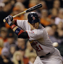 St. Louis Cardinals' Allen Craig is hit by a pitch during the sixth inning of Game 2 of baseball's National League championship series against the San Francisco Giants Monday, Oct. 15, 2012, in San Francisco. (AP Photo/David J. Phillip)