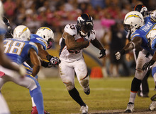 Denver Broncos running back Willis McGahee during a National Football League game aganst the San Diego Chargers Monday, Oct. 15, 2012 in San Diego.  (AP Photo/Lenny Ignelzi)