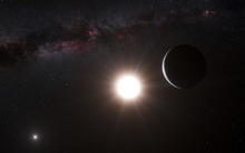 This artist's impression made available by the European Southern Observatory on Tuesday, Oct. 16, 2012 shows a planet, right, orbiting the star Alpha Centauri B, center, a member of the triple star system that is the closest to Earth. Alpha Centauri A is at left. The Earth's Sun is visible at upper right. Searching across the galaxy for interesting alien worlds, scientists made a surprising discovery: a planet remarkably similar to Earth in a solar system right next door. Other Earth-like planets have been found before, but this one is far closer than previous discoveries. Unfortunately, the planet is way too hot for life, and it's still 25 trillion miles away. (AP Photo/ESO, L. Calcada)