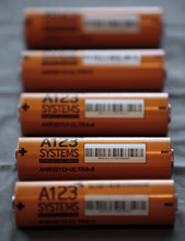 FILE- This Thursday, Aug. 6, 2009, file photo, shows A123 Systems Inc.'s high power Nanophospate Lithium Ion Cell for Hybrid Electric Vehicles batteries in Livonia, Mich. Short of cash and hurting from slow sales of electric cars, battery maker A123 Systems Inc. sent its U.S. operations into bankruptcy protection on Tuesday, Oct. 16, 2012, and quickly sold its automotive assets.  The Chapter 11 filing in Delaware came one day after A123 warned that it likely would miss some debt payments and could be headed for court-supervised restructuring. (AP Photo/Paul Sancya, File)