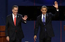 FILE - In this Oct. 3, 2012, file photo, Republican presidential candidate Mitt Romney and President Barack Obama wave to the audience during the first presidential debate at the University of Denver in Denver. The sixth
