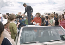 Robert F. Kennedy and Ethel Kennedy, during the 1968 Oregon primary, are pictured in this scene from