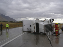 Strong winds that accompanied a cold front entering Utah on Tuesday toppled this semi-trailer on I-15 near Brigham City. The driver was not injured. Courtesy Utah Highway Patrol