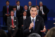 Republican presidential nominee Mitt Romney answers a question during the second presidential debate at Hofstra University, Tuesday, Oct. 16, 2012, in Hempstead, N.Y. (AP Photo/Pool-Rick Wilking)