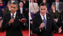 In a photo combo, President Barack Obama, left, and Republican presidential nominee Mitt Romney address the audience during the second presidential debate at Hofstra University, Tuesday, Oct. 16, 2012, in Hempstead, N.Y. (AP Photo/Pool-Shannon Stapleton)