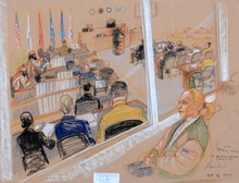 In this photo of a sketch by courtroom artist Janet Hamlin and reviewed by the U.S. Department of Defense, Merrilly Noeth, a relative of a victim of the Sept. 11 attacks, watch behind sound-proof glass the second day of the Military Commissions pretrial hearing against the five Guantanamo prisoners accused of the terrorist attacks at the Guantanamo Bay U.S. Naval Base in Cuba, Tuesday, Oct. 16, 2012. The military tribunal for the Sept. 11 terrorism case resumed Tuesday without three of the five defendants, the result of a judge's ruling that the men could not be forced to attend the session. Those who showed up in court were Yemenis Walid bin Attash and Ramzi Binalshibh. (AP Photo/Janet Hamlin, Pool)