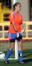 Steve Griffin | The Salt Lake Tribune   Park City's Skye Mooney positions herself in goal during soccer game between Park City and Morgan at Park City HIgh School in Park City, Utah Wednesday October 10, 2012.