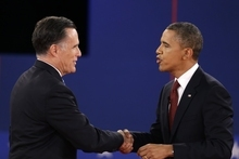 President Barack Obama and Republican presidential nominee Mitt Romney shakes hands at the conclusion of the second presidential debate at Hofstra University, Tuesday, Oct. 16, 2012, in Hempstead, N.Y. (AP Photo/David Goldman)