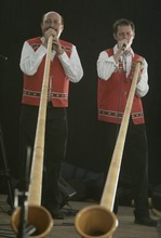 Kim Raff | The Salt Lake Tribune Members of the Salzberger Echo play alphorns while performing at Snowbird's 40th annual Oktoberfest Celebration at Snowbird Ski Resort  on August 18, 2012.