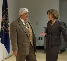 Paul Fraughton | Salt Lake Tribune Representative Rob Bishop talks with his challenger for the 1st District Congressional Seat, Donna McAleer , before the start of their debate at the Pleasant Valley Library  in Ogden.  Monday, October 15, 2012