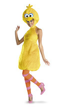 This undated image released by Disguise, Inc. shows a woman modeling a variation of Big Bird costume for women. Halloweencostumes.com sold out of several takes on Big Bird almost overnight after Romney's remark during the first presidential debate Oct. 3. Disguise Inc., Sesame Workshop's official costume maker, said interest is up among the thousands of retailers it services. The sellers of unlicensed Big Bird, especially sexed-up versions, beware. (AP Photo/Disguise, Inc.)