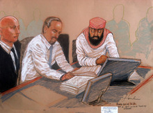 In this photo of a sketch by courtroom artist Janet Hamlin and reviewed by the U.S. Department of Defense, Guantanamo prisoner Ramzi Binalshibh, right, sits at a defense table with a court translator and his lawyer Navy Lt. Cmdr. Kevin Bogucki, left, during the second day of the Military Commissions pretrial hearing against the five Guantanamo prisoners accused of the Sept. 11 terrorist attacks at the Guantanamo Bay U.S. Naval Base in Cuba, Tuesday, Oct. 16, 2012. The military tribunal for the Sept. 11 terrorism case resumed Tuesday without three of the five defendants, the result of a judge's ruling that the men could not be forced to attend the session. Those who showed up in court were Binalshibh and Walid bin Attash, both of Yemen. (AP Photo/Janet Hamlin, Pool)