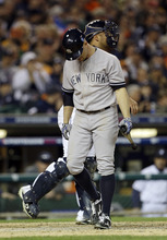 New York Yankees' Brett Gardner strikes out in the seventh inning against the Detroit Tigers during Game 4 of the American League championship series Thursday, Oct. 18, 2012, in Detroit. (AP Photo/Paul Sancya )