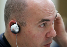 Al Hartmann  |  The Salt Lake Tribune Officer Nick Garcia  of the Cottonwood Heights Police Department listens Thursday to simulated sounds (voices) of what mentally ill people might hear in everyday life while performing other training excercises. The training was part of a weeklong Crisis Intervention Team (CIT) education program designed to help officers gain an understanding and empathy when they deal with the mentally ill in the course of their jobs.