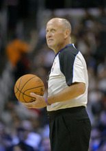 Referee David Jones looks on prior to the Los Angeles Clippers' preseason NBA basketball game against the Utah Jazz, Wednesday, Oct.17, 2012, in Los Angeles. The Clippers won 96-94.  (AP Photo/Mark J. Terrill)