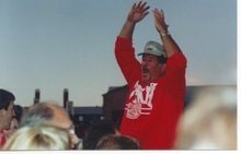 Mike Murry leads cheers during a Ute football game at Rice-Eccles Stadium. Courtesy | Murry family