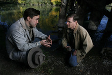 Francisco Kjolseth  |  The Salt Lake Tribune Joe Tapper plays George, left, and Mark Watson is Lennie in Pioneer Theatre Company's production of John Steinbeck's