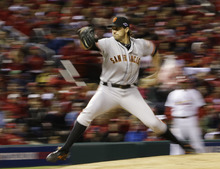 San Francisco Giants starting pitcher Barry Zito throws during the eighth inning of Game 5 of baseball's National League championship series against the St. Louis Cardinals, Friday, Oct. 19, 2012, in St. Louis. (AP Photo/David J. Phillip)