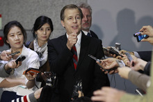U.S. special envoy for North Korea Glyn Davies speaks after meeting with his South Korean counterpart Lim Sung-nam to talk on North Korea's denuclearization process at the Foreign Ministry in Seoul, South Korea, Friday, Oct. 19, 2012. (AP Photo/Ahn Young-joon)