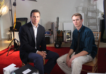 This undated image released by ABC shows ABC News' Chris Cuomo, left, with Aaron Fisher, 18, a victim of former Penn State assistant football coach Jerry Sandusky during an interview airing Friday, Oct. 19, 2012 on the news magazine show