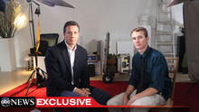 This undated image from video shows ABC News' Chris Cuomo, left, with Aaron Fisher, 18, a victim of former Penn State assistant football coach Jerry Sandusky during an interview airing Friday, Oct. 19, 2012 on the news magazine show