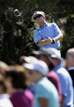 Davis Love III tees off on the second hole during the third round of the McGladrey Classic PGA Tour golf tournament Saturday, Oct. 20, 2012 in St. Simons Island, Ga. (AP Photo/Stephen Morton)