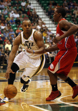 Ashley Detrick     The Salt Lake Tribune Randy Foye drives the ball to the basket in the first half of the game against the Clippers on Saturday, Oct. 20, 2012 at Energy Solutions in Salt Lake City. The Jazz were leading the Clippers 54-46 at halftime.