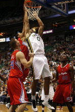 Ashley Detrick     The Salt Lake Tribune Enes Kanter makes a layup in the first half of the game against the Clippers on Saturday, Oct. 20, 2012 at Energy Solutions in Salt Lake City. The Jazz were leading the Clippers 54-46 at halftime.