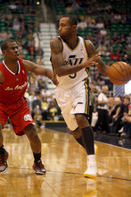 Ashley Detrick     The Salt Lake Tribune DeMarre Carroll takes the ball to the basket in the first half of the game against the Clippers on Saturday, Oct. 20, 2012 at Energy Solutions in Salt Lake City. The Jazz were leading the Clippers 54-46 at halftime.