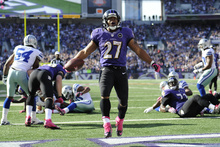 Nick Wass  |  The Associated Press Ravens running back Ray Rice is bringing a little beauty to the ugly world of professional football.
