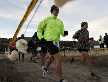 Al Hartmann  |  The Salt Lake Tribune Fifteen runners in the competive-elite class start the Pony Express Trail 100 Endurance Run at 8 a.m. Friday, Oct. 19. Some 75 entrants and their support teams will run the 50-mile course or the 100-mile course along the historic Pony Express route in the west desert areas of Tooele and Juab counties.