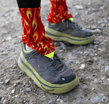 Al Hartmann  |  The Salt Lake Tribune A runner in the competive-elite class wears new running style shoes with 1 inch cusioned souls at the start of the Pony Express Trail 100 Endurance Run Friday morning Oct. 19. Some 75 entrants and their support teams will run the 50-mile course or the 100-mile course along the historic Pony Express route in the west desert areas of Tooele and Juab counties.