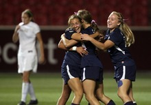 Kim Raff | The Salt Lake Tribune Bonneville players celebrate player Karlie Eichmeier scoring a goal on Bountiful during the 4A girls state championship game at Rio Tinto Stadium in Sandy, Utah on October 19, 2012. Bonneville won the game 1-0.