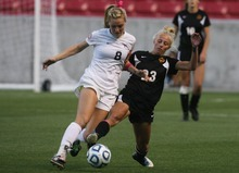 Kim Raff | The Salt Lake Tribune Alta player (left) Madie Lyons competes with Viewmont player Abbey Rasmussen during the 5A girls state championship game at Rio Tinto Stadium in Sandy, Utah on October 19, 2012. Viewmont went on to win the game 1-0.