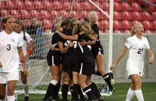 Kim Raff | The Salt Lake Tribune Viewmont players celebrate winning the 5A girls state championship game against Alta after scoring in double overtime at Rio Tinto Stadium in Sandy, Utah on October 19, 2012. Viewmont went on to win the game 1-0.