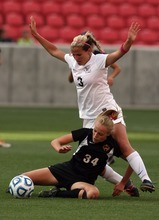 Kim Raff | The Salt Lake Tribune Alta player (right) Lindsey Butts defends Viewmont player Karrie Pead during the 5A girls state championship game at Rio Tinto Stadium in Sandy, Utah on October 19, 2012. Viewmont went on to win the game 1-0.