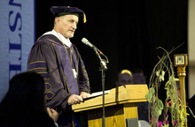 Lennie Mahler  |  The Salt Lake Tribune New Westminster President Brian Levin-Stankevich delivers his inaugural address in front of college students and faculty Saturday, Oct. 20, 2012, at Westminster College in Salt Lake City, Utah.