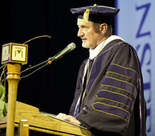 Lennie Mahler  |  The Salt Lake Tribune New Westminster President Brian Levin-Stankevich delivers his inaugural address Saturday, Oct. 20, 2012, at Westminster College in Salt Lake City, Utah.