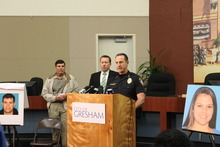 Gresham Police Chief Craig Junginger (right) announces the discovery of Whitney Heichel's body on Larch Mountain and the arrest of a family acquaintance in her killing late Friday evening Oct. 19, 2012. Also at the news conference late Friday are Gresham Mayor Shane Bemis (center), expressing the city's condolences, and family spokesman Jim Vaughn (right), thanking police and community members for their support. (AP Photo/Everton Bailey Jr., The Oregonian)