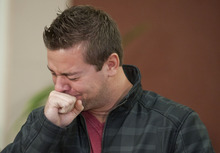 Clint Heichel, husband of Whitney Heichel, 21, of Gresham, Ore., breaks down as he attempts to speak at a press conference Thursday, Oct. 18, 2012 in the council chambers for the City of Gresham. Police say children playing outside an apartment complex have found the cellphone of Whitney Heichel, who vanished three days ago under suspicious circumstances.  (AP Photo/The Oregonian, Brent Wojahn)  MAGS OUT; TV OUT; LOCAL TV OUT; LOCAL INTERNET OUT; THE MERCURY OUT; WILLAMETTE WEEK OUT; PAMPLIN MEDIA GROUP OUT